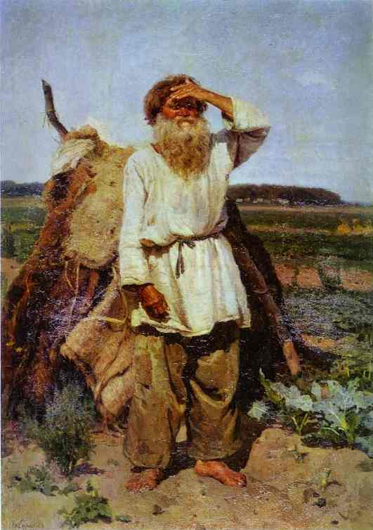 Oil painting:Old Man in His Vegetable Garden. 1882