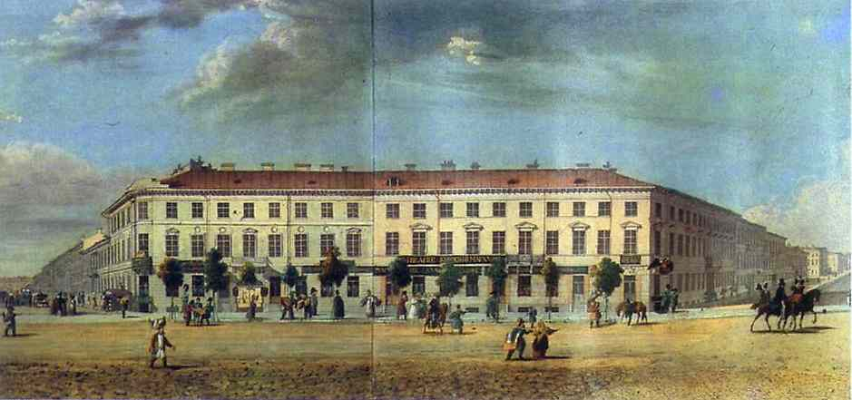 Oil painting:Panorama of the Nevsky Prospekt. Detail. 1830