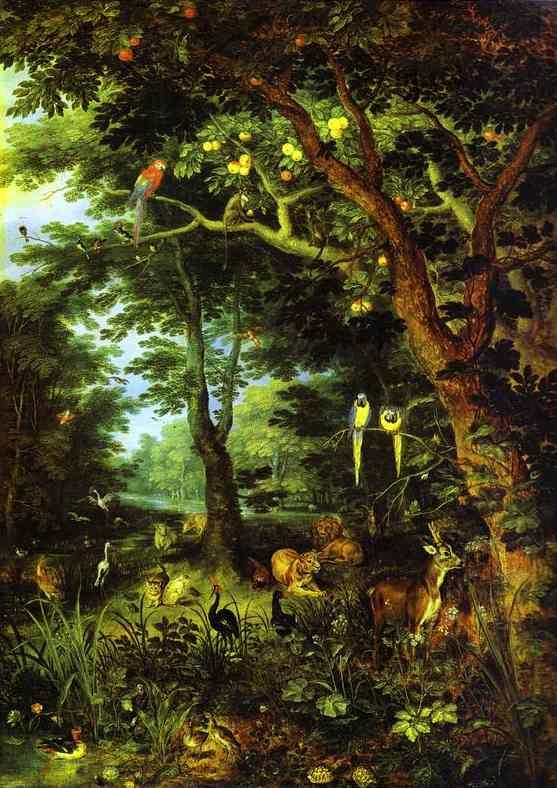 Oil painting:Paradise. c. 1620
