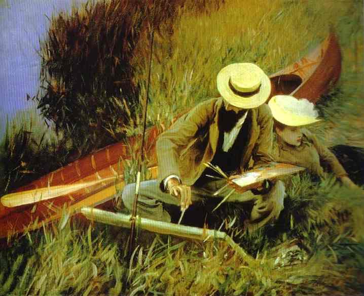 Oil painting:Paul Helleu Sketching His Wife Alice. 1889