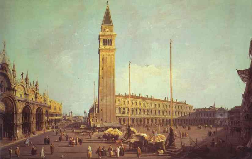 Oil painting:Piazza San Marco: Looking South-West. 1750