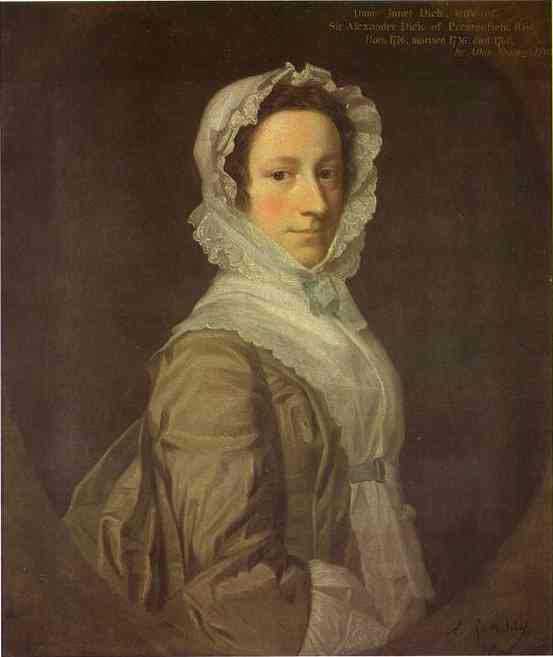 Oil painting:Portrait of Janet Dick. 1748