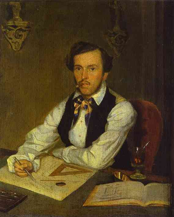 Oil painting:Portrait of an Architect. c. 1849