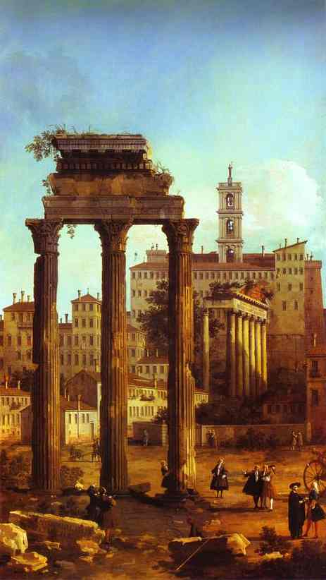 Oil painting:Rome: Ruins of the Forum, Looking towards the Capitol. 1742