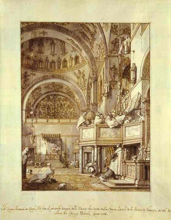 Oil painting:San Marco: the Crossing and North Transept, with Musicians Singing. 1766