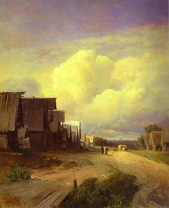 Oil painting:Street in a Village. 1868