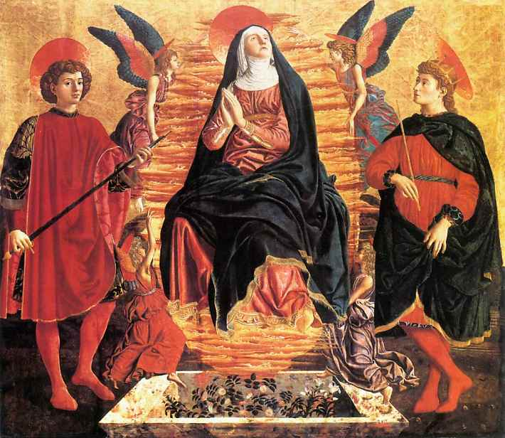 Oil painting:The Assumption of the Virgin with SS. Julian and Miniato. c. 1450