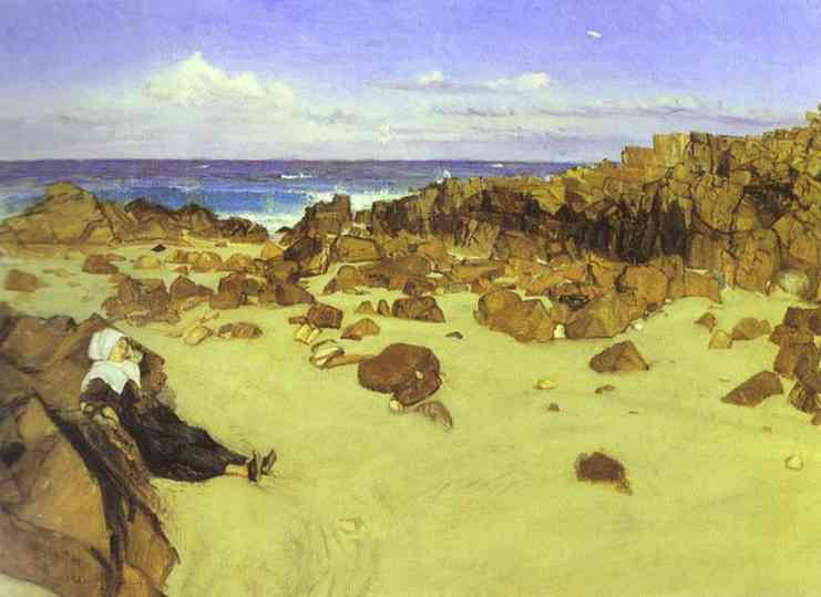 Oil painting:The Coast of Brittany. 1861