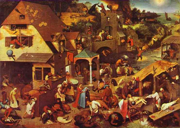 Oil painting:The Flemish Proverbs. 1559