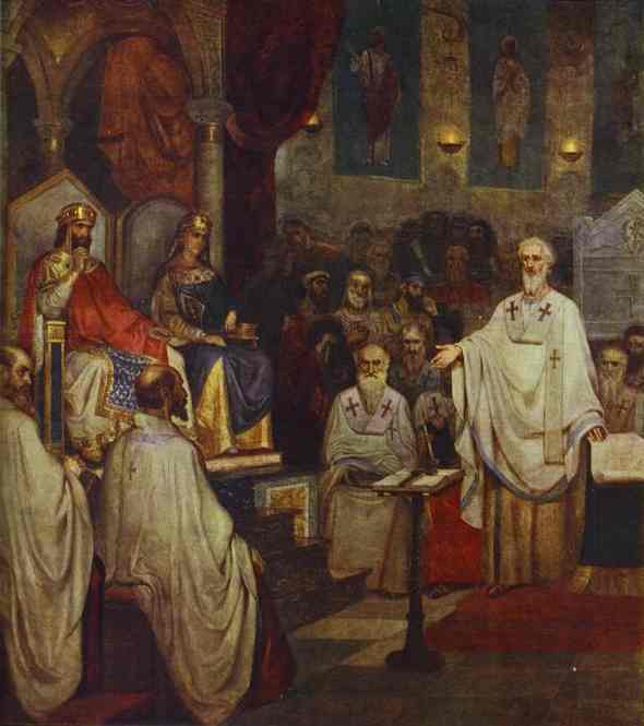 Oil painting:The Fourth Oecumenical Council. 1877