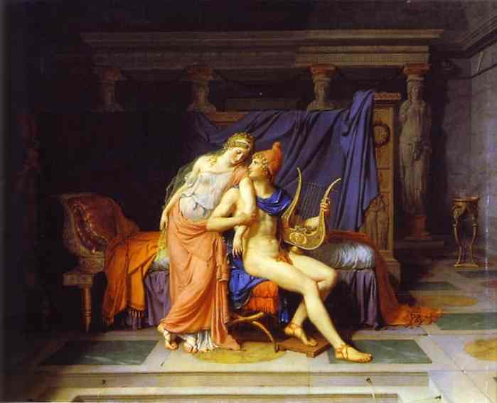 Oil painting:The Love of Paris and Helen. 1788