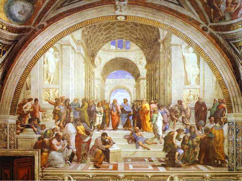 Oil painting:The School of Athens. 1509