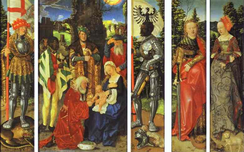 Oil painting:The Three Kings Altarpiece.