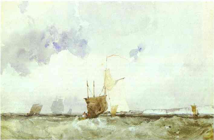 Oil painting:Vessels in a Choppy Sea. c.1824