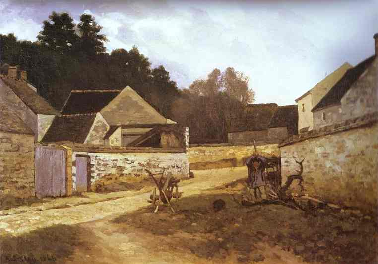 Oil painting:Village Street in Marlotte. 1866