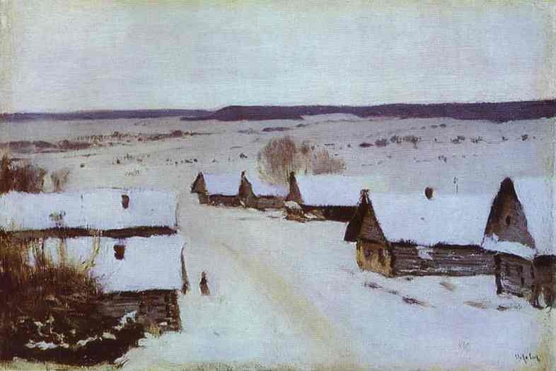 Oil painting:Village in Winter. 1877