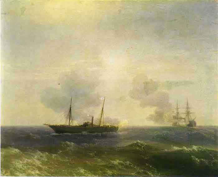 Oil painting for sale:Action Between the Vesta and the Turkish Fetkhi-Bulent, 1877