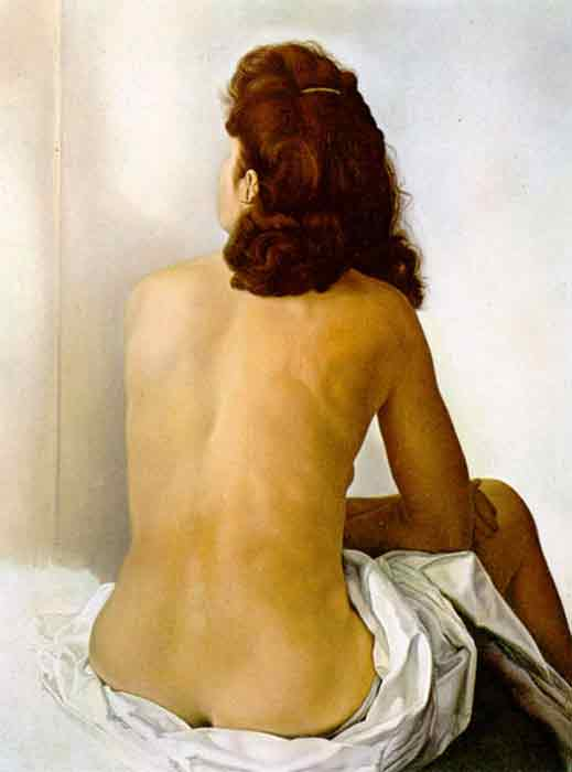 Oil painting for sale:Gala Nude From Behind Looking in an Invisible Mirror, 1960