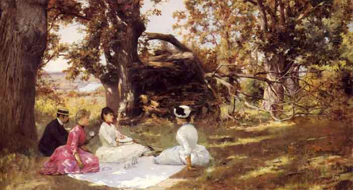 Oil painting for sale:Picnic Under The Trees, c.1895