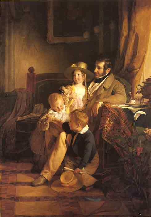 Oil painting for sale:Rudolf von Arthaber with his Children