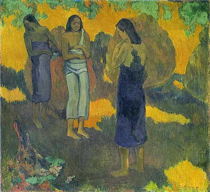 Oil painting for sale:Three Tahitian Women Against a Yellow Background, 1899