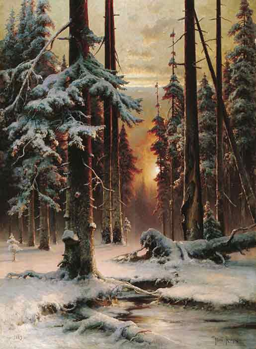 Oil painting for sale:Winter Sun Dawn in a Forest, 1889