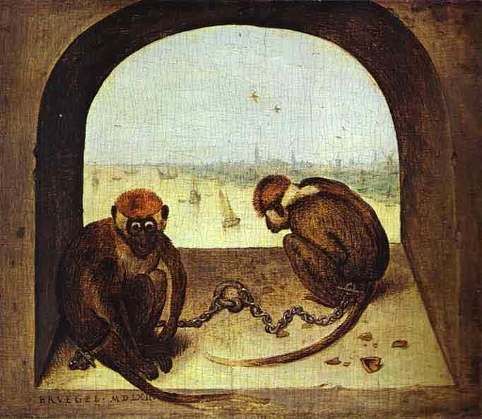 Two Chained Monkeys. 1562