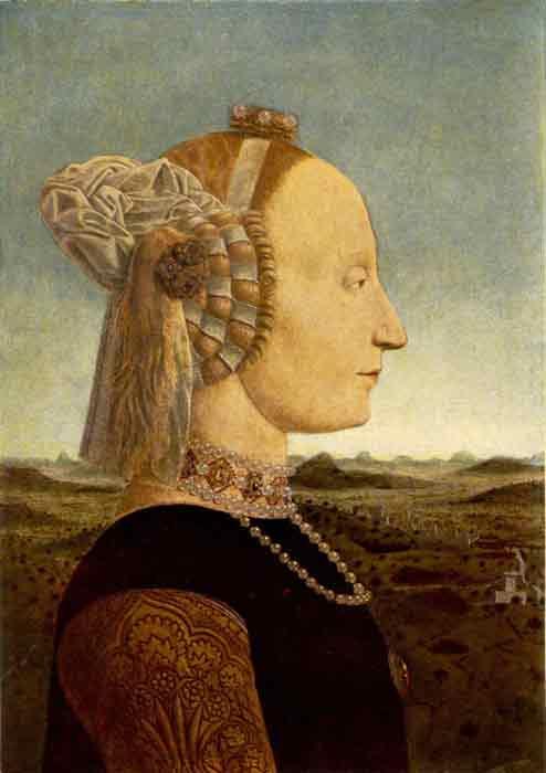 Oil painting for sale:Portrait of Battista Sforza, 1465-1466