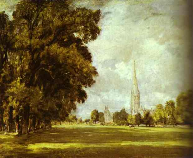 Oil painting:A View of Salisbury Cathedral. c.1825