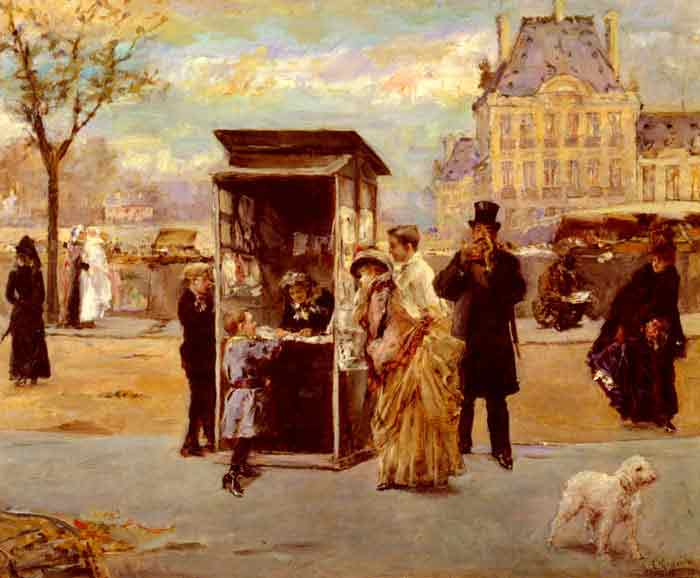 Oil painting for sale:The Kiosk by the Seine