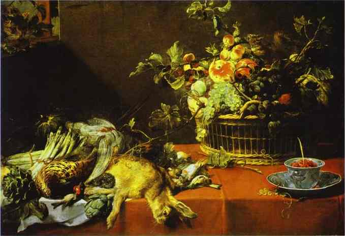 Oil painting:Still Life with Fruit Basket and Game. c.1620