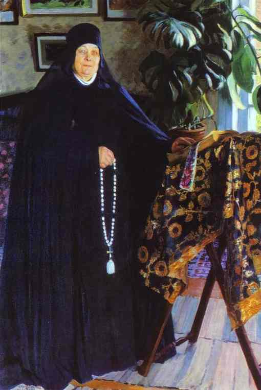 Oil painting: Abbess./Igumenya. Oil on canvas. 1908