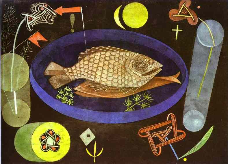 Oil painting:Around the Fish. 1926