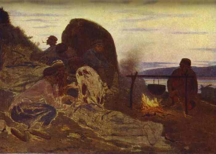 Oil painting:Barge Haulers by Campfire. 1870