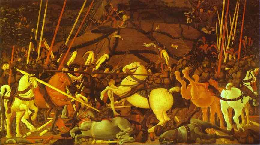 Oil painting:Battle of San Romano. Middle panel. c. 1454