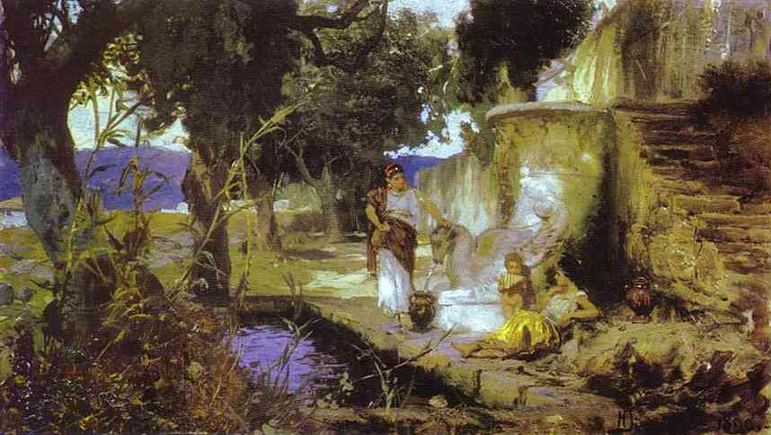 Oil painting:By a Pool. 1890
