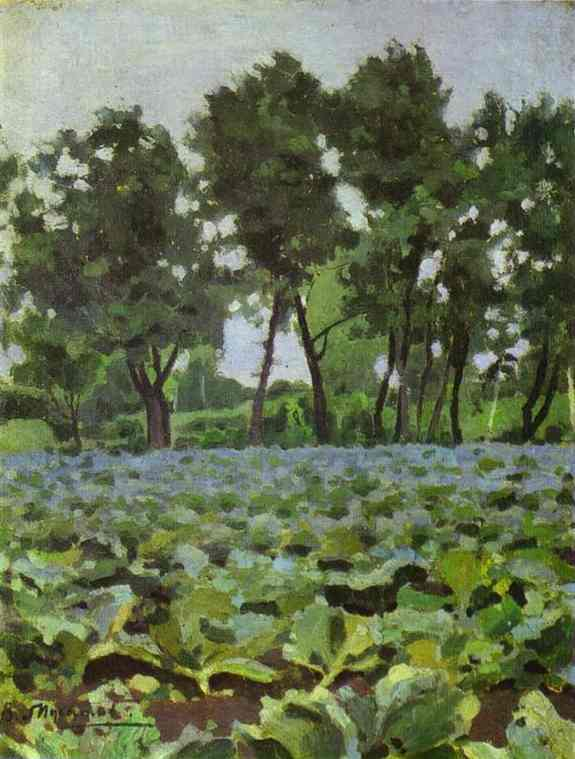 Oil painting:Cabbage Field with Willows. 1893
