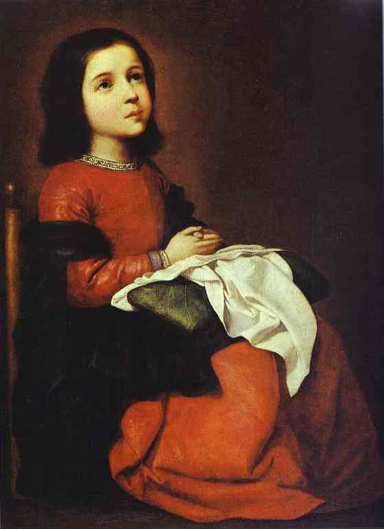 Oil painting:Childhood of the Virgin. c. 1660