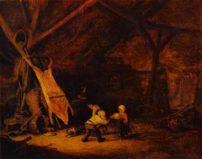 Oil painting:Children Playing in a Barn. 1639