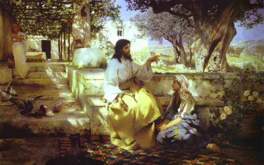 Oil painting:Christ in the House of Martha and Mary. 1886