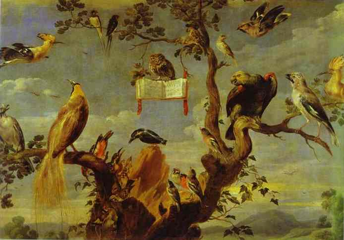 Oil painting:Concert of Birds. 1630