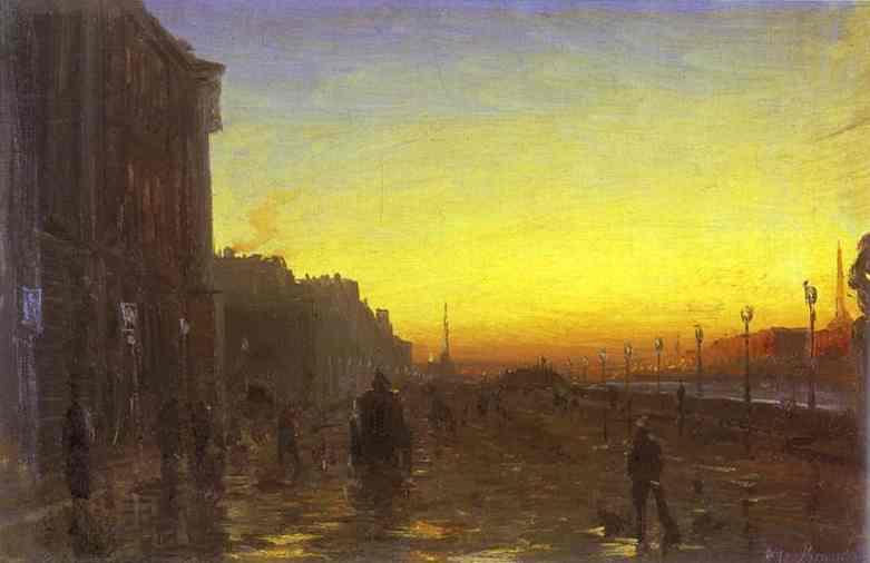 Oil painting:Dawn in St. Petersburg.