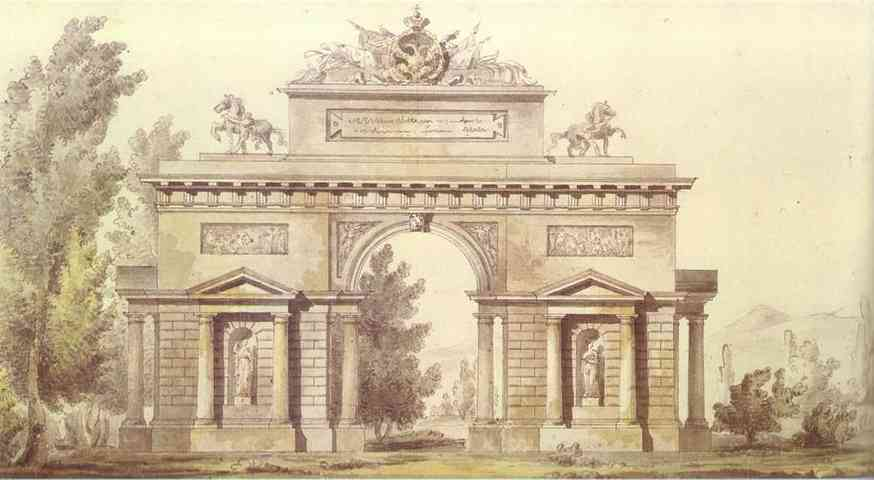 Oil painting:Design of a Triumphal Arch.