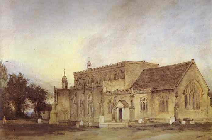 Oil painting:East Bergholt Church. 1811