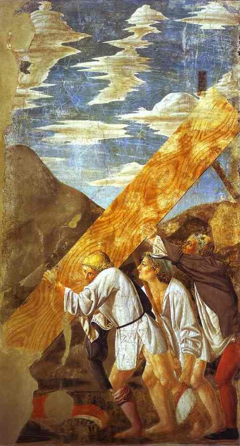 Oil painting:Giovanni da Piamonte and Piero della Francesca. Legend of the True Cross: Burial of the