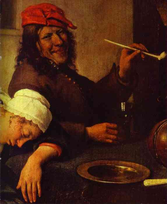 Oil painting:Idlers. Detail. c. 1660
