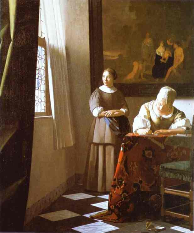 Oil painting:Lady Writing a Letter with Her Maid. c.1670