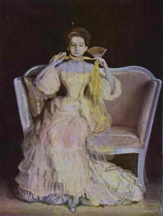 Oil painting:Lady in Pink. 1903