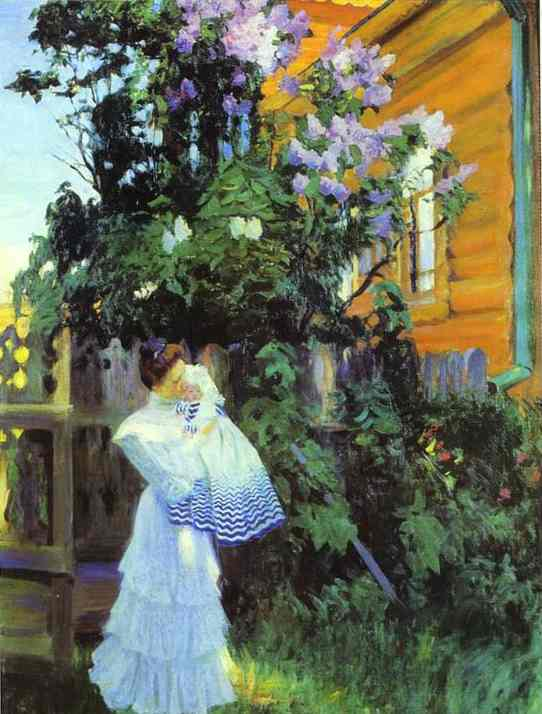 Oil painting: Lilacs. Yu.Ye.Kustodiyeva with Daughter Irina. 1906