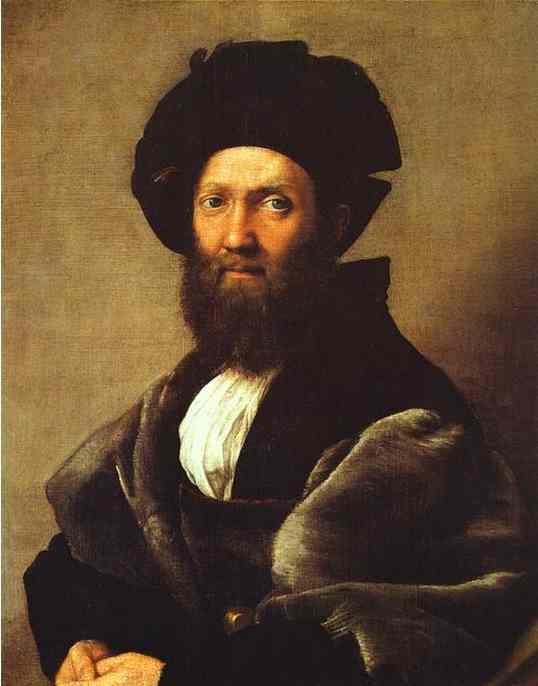 Oil painting:Portrait of Baldassare Castiglione. c.1514